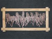 """GALLOPING HORSES HAMMERED TIN IN WOOD FRAME 18.5H x 36.5"""""""